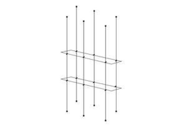 Picture of 1000 x 195 x 5 Double Cable Shelf Window Display kit