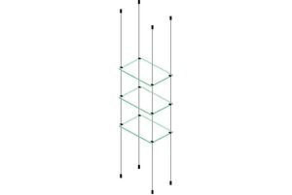 Picture of 3 x 595 x 280 x 6mm Cable Shelf Window Display Kit Glass Look