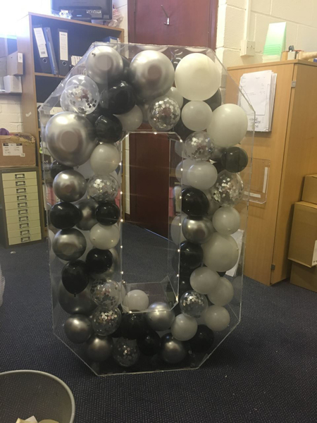 Picture of 750mm Clear Acrylic 3D Letter / Numbers Balloon Decoration Display
