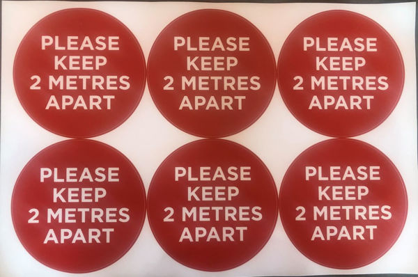 Picture of Please Keep 2 Metres Apart Red PACK OF 6