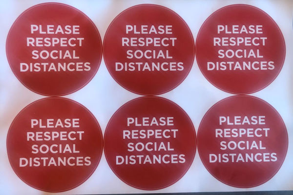 Picture of Please Respect Social Distance Red PACK OF 6