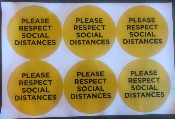 Picture of Please Respect Social Distance Yellow PACK OF 6